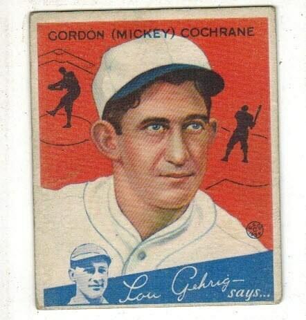 1934 Goudey #2 Mickey Cochrane list $175