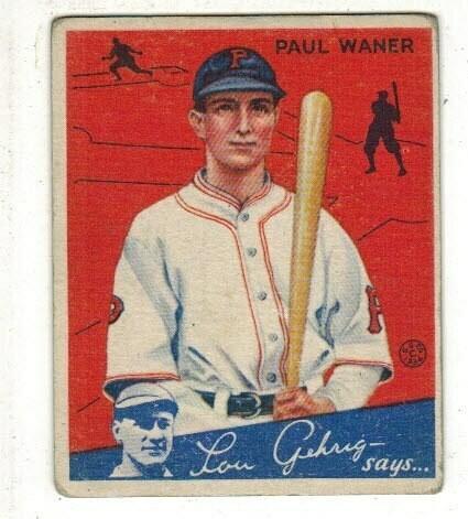 1934 Goudey #11 Paul Waner list $250