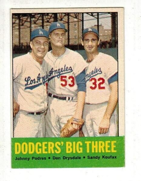 1963 Topps Dodger Big 3 Koufax list $60