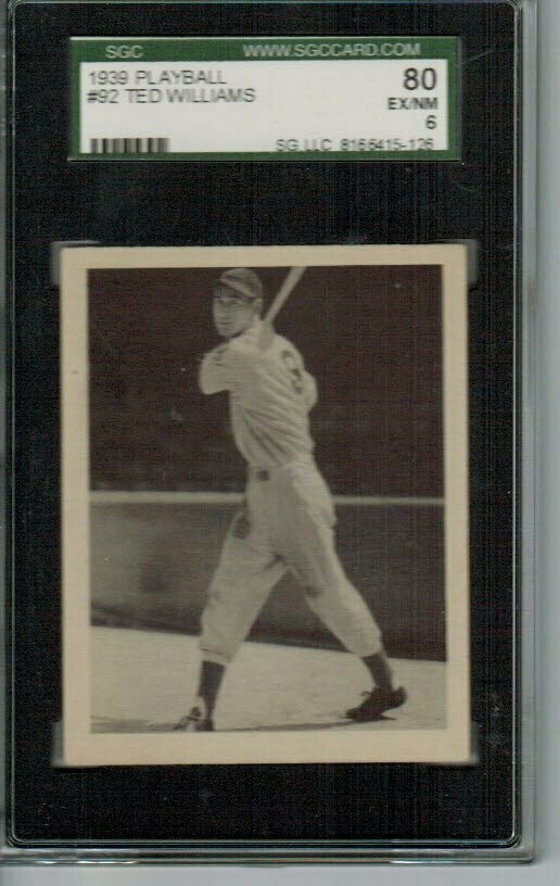 1939 Playball #92 Ted Williams rookie SGC 6 Centered