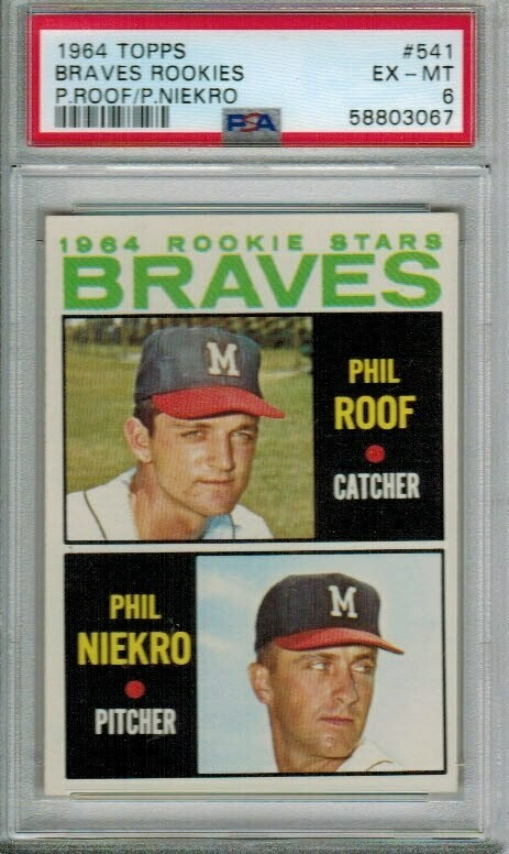 1964 Topps #541 Phil Niekro rookie PSA 6 Centered