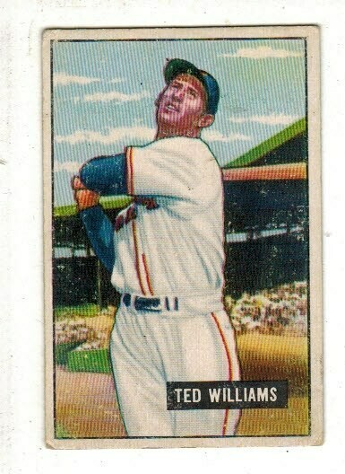 1951 Bowman #165 Ted Williams Damaged back list $800