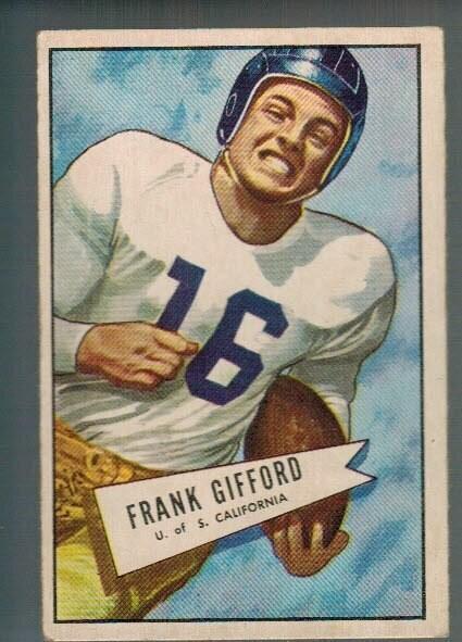 1952 Bowman Large #16 Frank Gifford rookie list $500