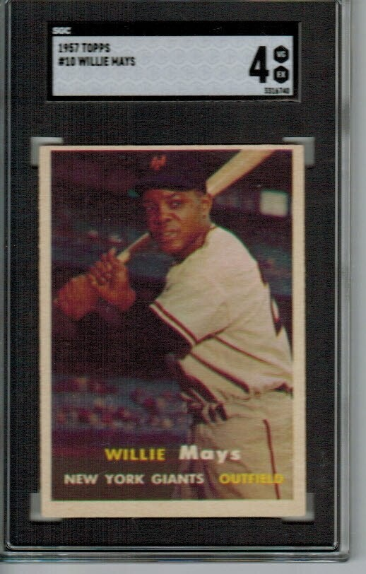 1957 Topps #10 Willie Mays SGC 4 list $600