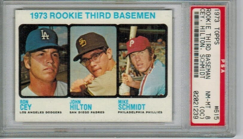 1973 Topps #615 Mike Schmidt rookie PSA 8 o/c