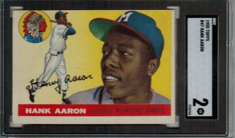 1955 Topps #47 Hank Aaron SGC 2 list $2,000