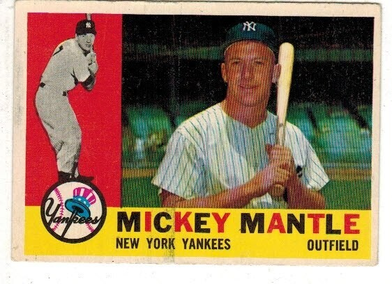 1960 Topps #350 Mickey Mantle list $1000