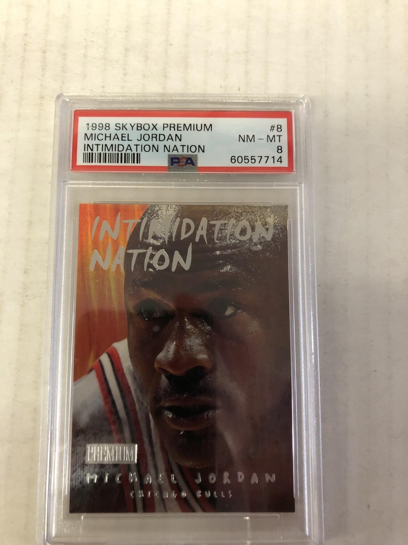 1998 Skybox Premium Michael Jordan Intimidation Nation PSA 8