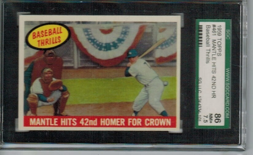 1959 Topps #461 Mantle Hits 42nd HR SGC 7.5