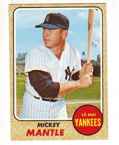 1968 Topps #280 Mickey Mantle list $600
