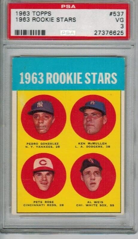 1963 Topps #537 Pete Rose rookie PSA 3 Nice!