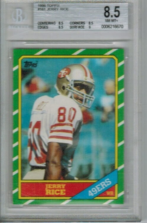 1986 Topps Jerry Rice rookie Beckett 8.5