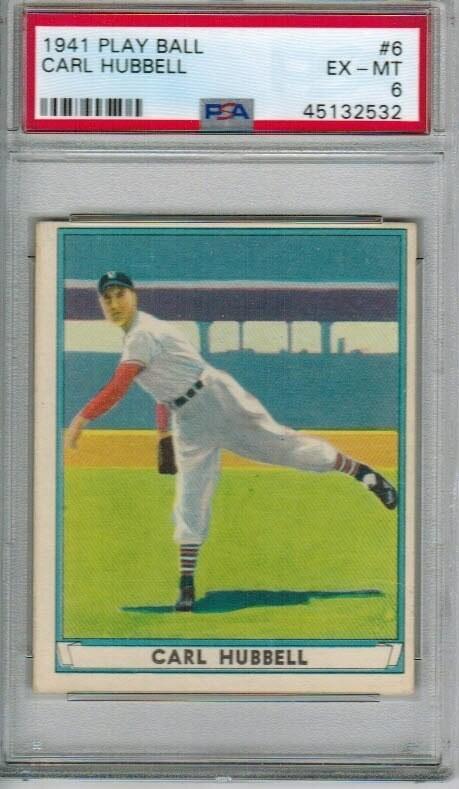 1941 Playball #6 Carl Hubbell PSA 6