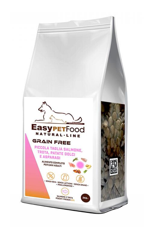 Grain Free Dog Adult - Piccola Taglia . Salmone con Trota, Patate Dolci e Asparagi.