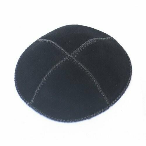 Black Suede Kippah Four Panel Yarmulke - Medium