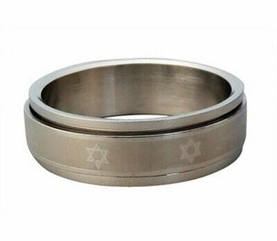 Stainless Steel Revolving Star of David Ring