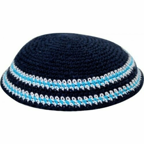 Dark Blue Knitted Kippah with Light Blue and White Border Stripes