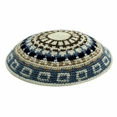 DMC Knitted Kippah with Beige and Blue Design