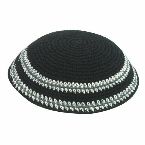 Black Knitted Kippah with Grey and White Border Stripes