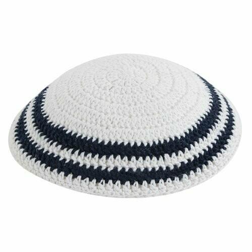 White Knitted Kippah with Dark Blue Stripe