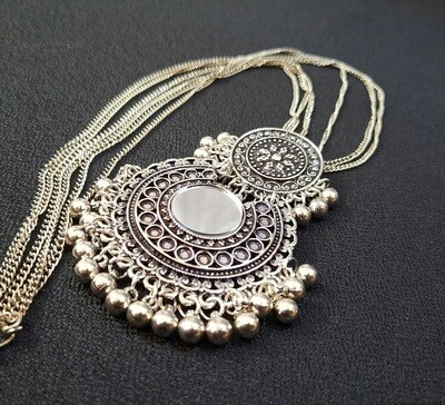 Oxidized Round Mirror Necklace