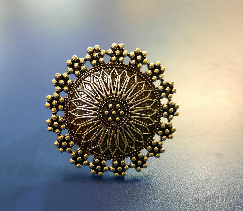 Oxidized Round Flower Adjustable Ring