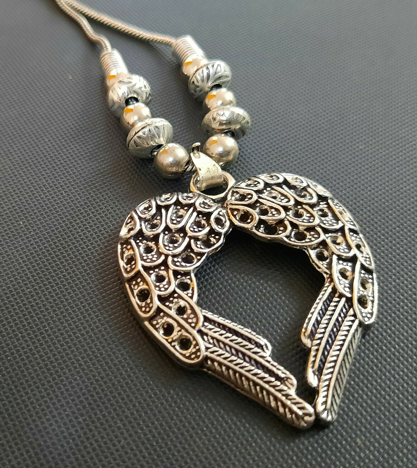 Oxidized Heart Wings Necklace