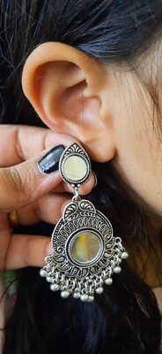 Oxidized Traditional Round Mirror Earrings with Charms