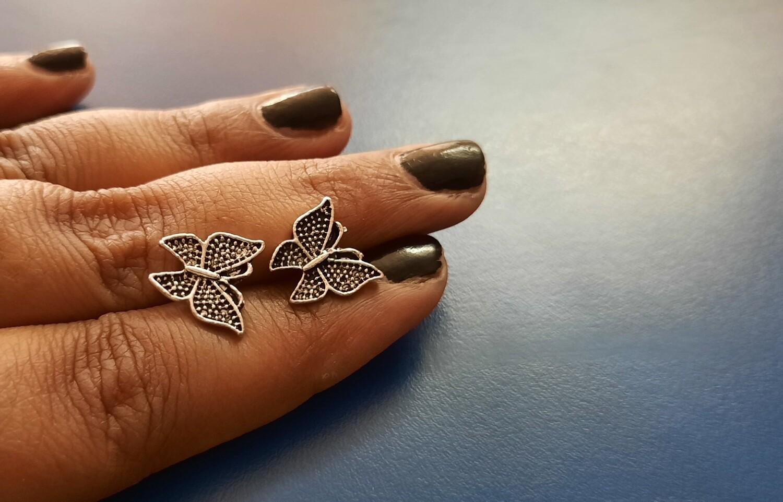 Oxidized Butterfly Earrings
