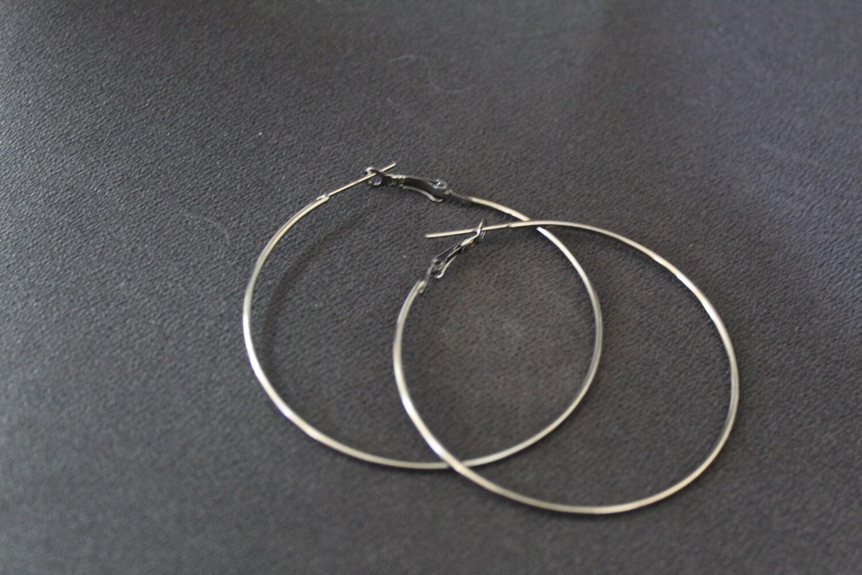 Black Shine Hoop Earrings