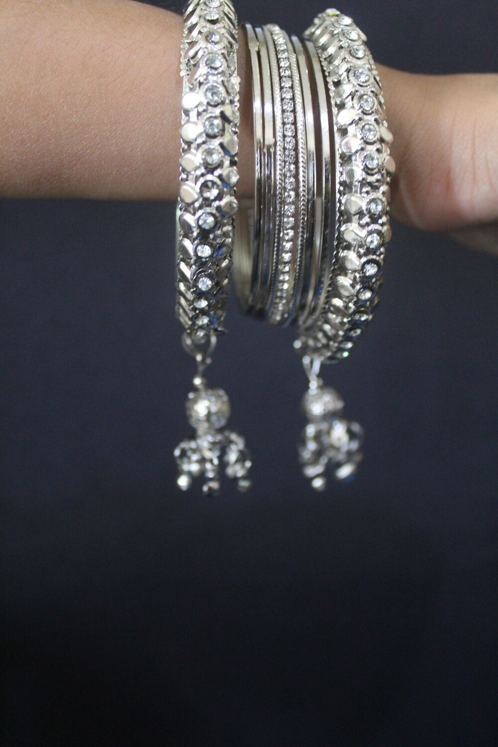 Dangling Charm Studded Bangle Set