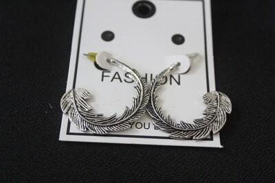 Oxidized Leaf Hoop Earrings