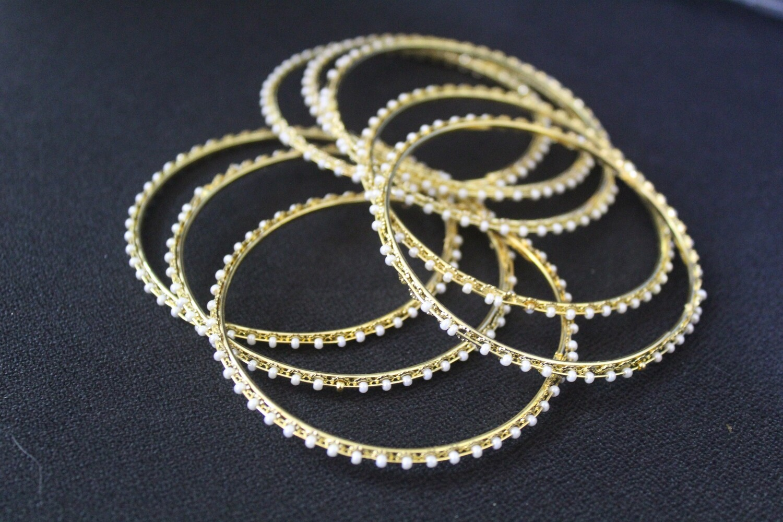 Pearl Studded Bangles - Set of 8