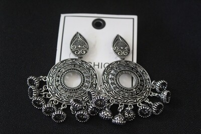 Oxidized Traditional Earrings with Dangling Charms
