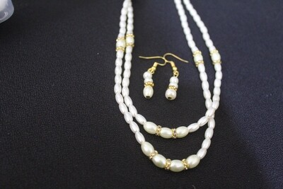 Hyderabadi Pearl Necklace and Earring Set