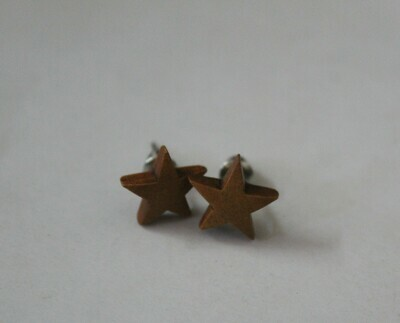 Black Wooden Star Earring (Studs)