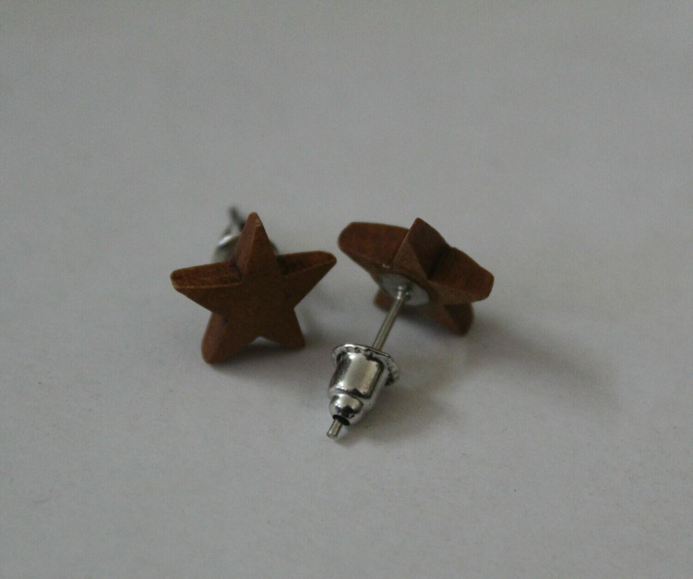 Brown Wooden Star Earrings (Studs)
