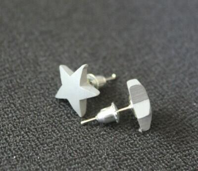 Grey Wooden Star Earrings (Studs)