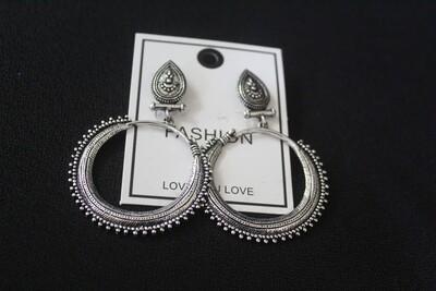 Oxidized Round Earrings