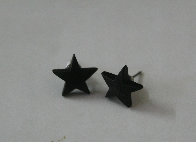 Navy Blue Wooden Star Earrings (Studs)