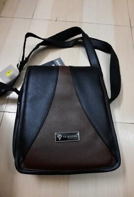 Season Satchel Bag (Black & Brown) with Zip Closure and Adjustable Strap