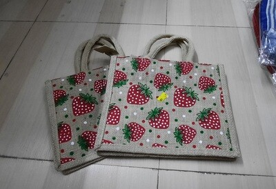 Strawberry Small Jute Bag with Zip Closure - 1 Piece