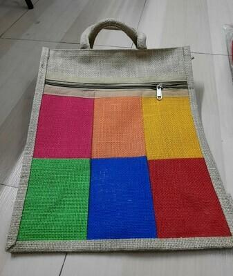 Multi-Colour Jute Bag with Zip Closure