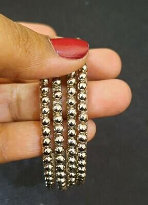 Metallic Bead Bangles - Set of 4