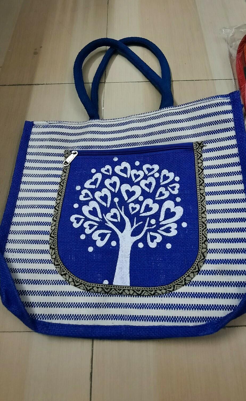 Blue Tree Jute Bag with Zip Closure
