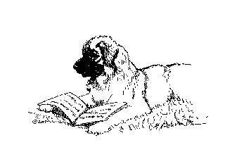"""""""Reading Leonberger Dog"""" Limited Edition Giclee Print 00135"""