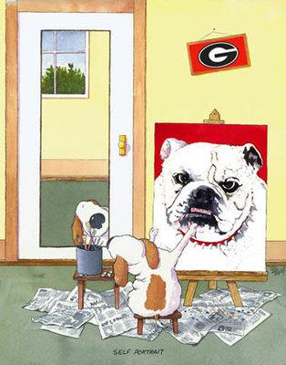 Self-Portrait Georgia Bulldog Mascot