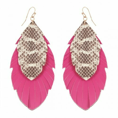 Pink Snakeskin Earrings
