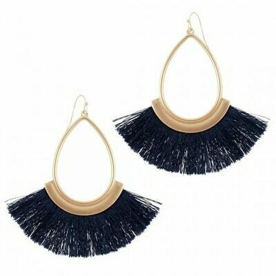 Navy Fringe Earrings