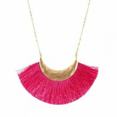 Pink Fringe Necklace